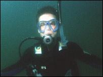 Submerged scuba diver
