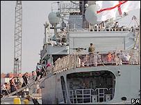 HMS Gloucester evacuating Britons from Lebanon