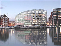 Computer-generated impression of part of the education quarter at Ipswich docks