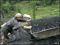 A coal miner in Sichuan province (file photo)