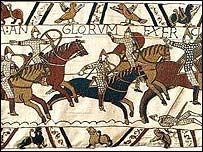Detail from the Bayeux Tapestry, which tells the story of the Norman victory at the battle of Hastings