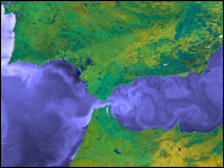Sea surface Gibraltar (Courtesy NERC)