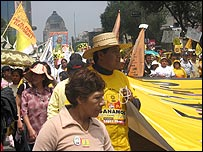 Protesters marching in Mexico City