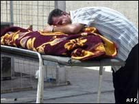 A man weeps over the body of a relative killed in violence in Iraq