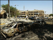 The site of a car bomb explosion in Iraq