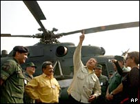 Hugo Chavez (centre) inspects a Mi17 Russian helicopter in April