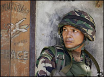 A Malaysian peacekeeper in East Timor, June 2006