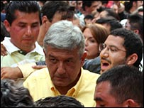 Andres Manuel Lopez Obrador meeting supporters