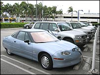 An EV1 at a charging station
