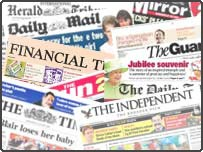 A montage of newspapers