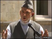 Hamid Karzai speaking on 4 August