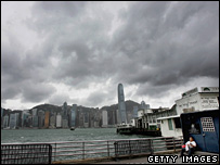 Dark clouds over the Hong Kong waterfront