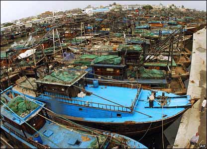 Fishing boats moored at a harbour in Beihai, Guangxi, ahead of the typhoon