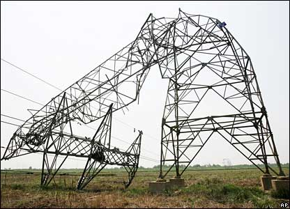 An electricity pylon hit by lightening in Hubei province