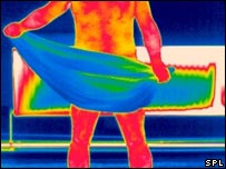 Thermogram showing a hot man