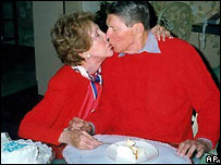 Ronald Reagan being fed by his wife Nancy, towards the end of his life