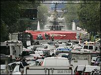 Calles congestionadas de la capital mexicana