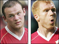 Wayne Rooney (l) and Paul Scholes