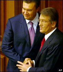 Виктор Янукович и Виктор Ющенко после голосования за премьер-министра