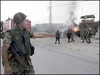 Lebanese soldiers at scene of Israeli missile strike in Tyre
