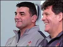 Rowland Phillips (left) and Wales coach Gareth Jenkins