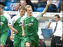 Dean Shiels celebrates the opening goal at Rugby Park