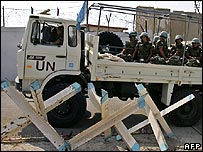 A UN peacekeeping convoy leaving its base on a patrol mission in Naqura, southern Lebanon