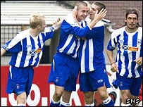 Colin Nish celebrates his equalising goal at Rugby Park