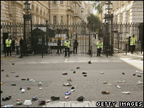 Children's shoes outside Downing Street's gates