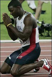 Justin Gatlin en Olímpicos de Atenas.