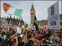 Protesters outside the Houses of Parliament