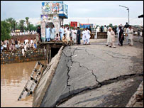 Collapsed bridge in Mardan