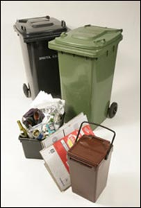 Different wheelie and recycling bins used in Bristol