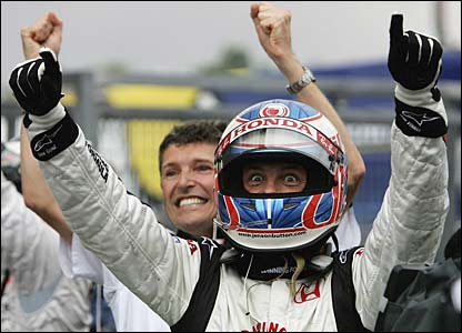 Jenson Button celebrates his first ever F1 win