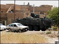Stryker vehicle in Baghdad