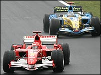 Michael Schumacher ahead of Fernando Alonso