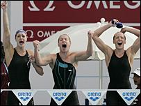 Terri Dunning, Mel Marshall and Kirsty Balfour cheer home Fran Halsall