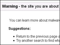 Google warning page, Google