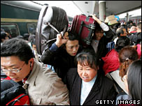 Passengers on a crowded train in Guangdong province, China, in January 2006