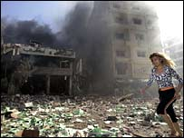 Woman amid wreckage in Beirut, Lebanon
