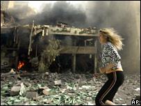 Bombardeo israelí en un barrio del sur de Beirut.