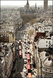 Bird's eye view of Whitehall