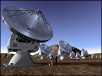 Artist's impression of the Alma telescopes (Image: Eso)