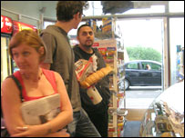 Sergio (far right) plus two customers