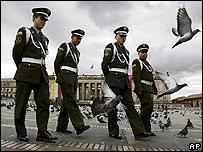 Soldiers patrol Bogota