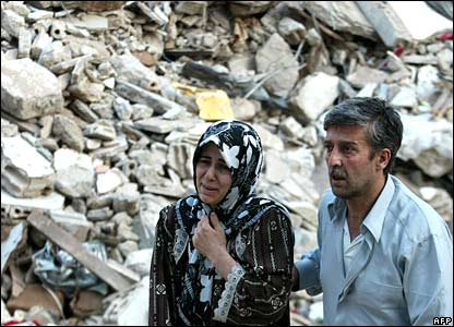 A Lebanese woman cries in southern Beirut on 8 August 2006