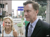 Ned Lamont and his wife, Annie on 8 August
