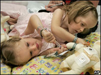 Kendra and Maliyah before the operation