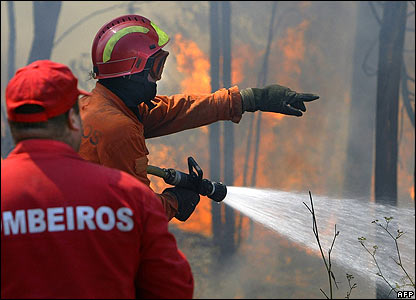 Firefighters tackle blaze in Valongo, northern Portugal, 7 Aug 06