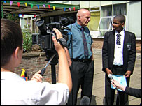 Filming for the news programme